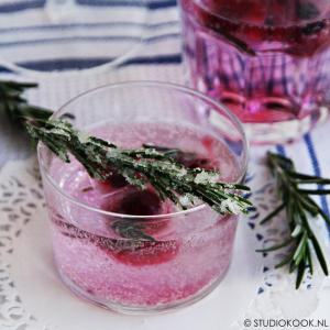 ijsblokjes met rood fruit en rozemarijn