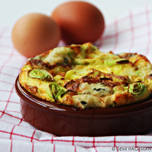 omelet uit de oven met prei en gorgonzola