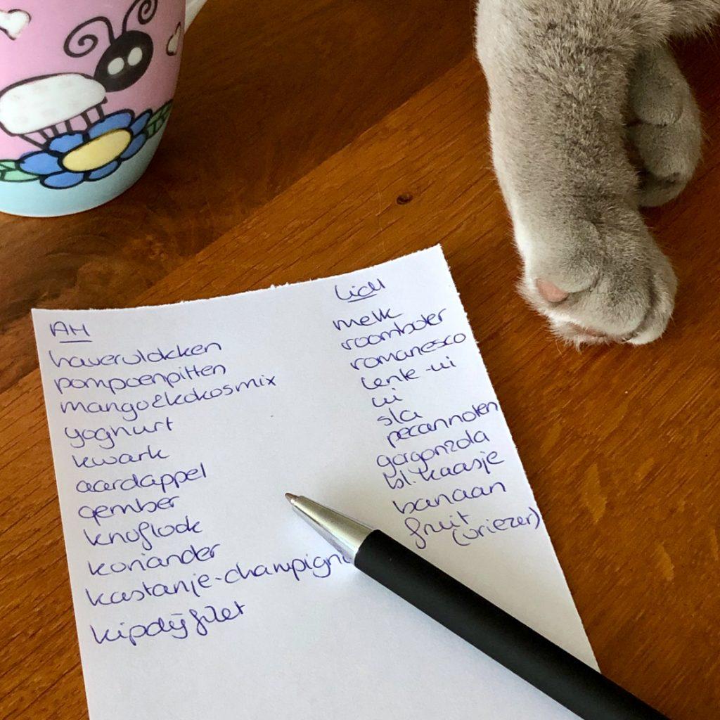 het boodschappenlijstje van mariëtte over eten gesproken