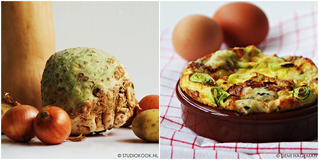 Verschillende seizoensgroeten van januari. Uien en knolselderij. Omelet uit de oven met prei en gorgonzola. Met de seizoensgroenten van januari: prei.