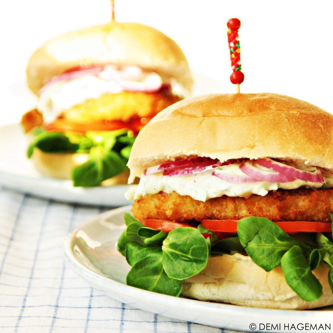 kabeljauwburgers met tzatziki