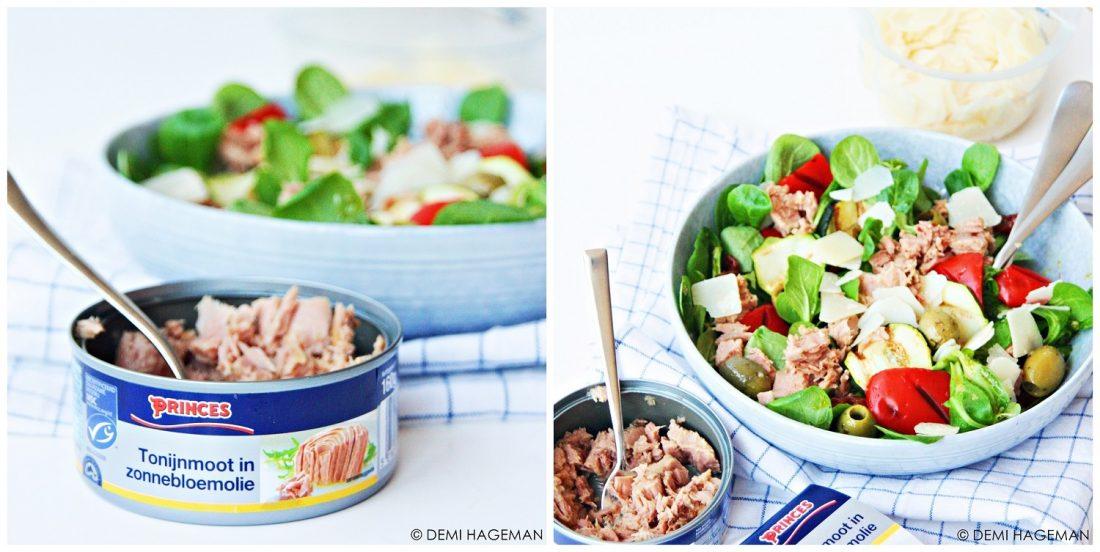 Italiaanse tonijnsalade met gegrilde groenten en Parmezaanse kaas