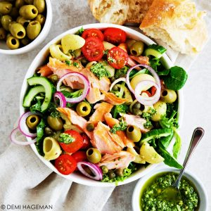 pasta pesto salade met zalm